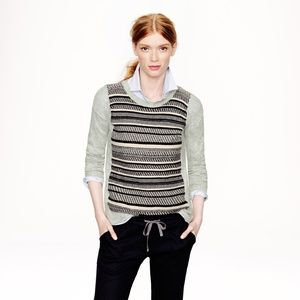 J. Crew Textured Striped Sweater in Gray
